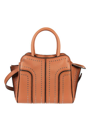 Tod'S: totes bags - Sella leather studs bag