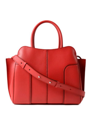 Tod'S: totes bags - Sella small red leather tote