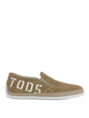 TOD'S: sneakers - Slip-on in suede beige