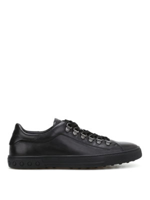 Tod'S: trainers - Black leather low-top sneakers