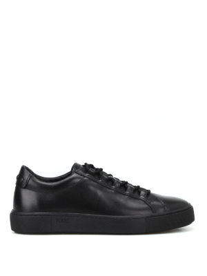Tod'S: trainers - Black leather sneakers with gommini