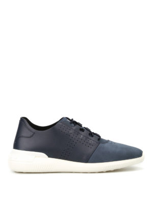 Tod'S: trainers - Blue leather and nubuck sneakers