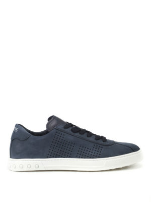 Tod'S: trainers - Blue nubuck low top sneakers