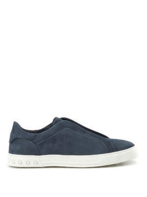 Tod'S: trainers - Blue nubuck slip-ons