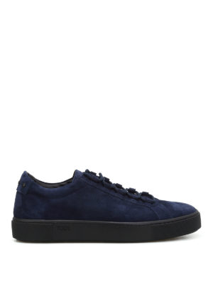 Tod'S: trainers - Blue suede low top sneakers
