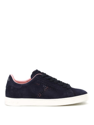 Tod'S: trainers - Dark blue drilled suede sneakers