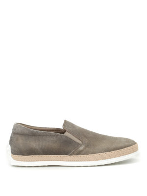 Tod'S: trainers - Denim effect leather slip-ons