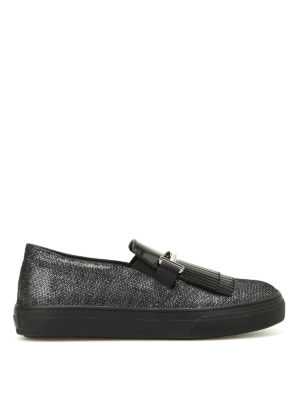 Tod'S: trainers - Double T fringed leather sneakers