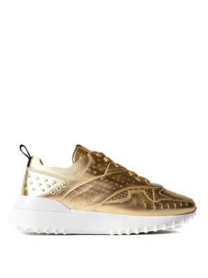 Tod'S: trainers - Drilled gold leather sneakers