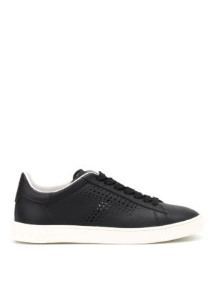Tod'S: trainers - Drilled T leather sneakers