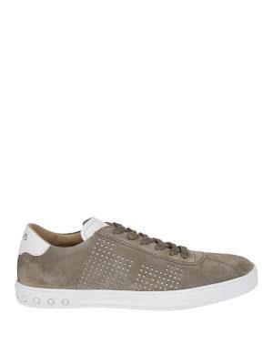 TOD'S: sneakers - Sneaker in suede tortora con fori