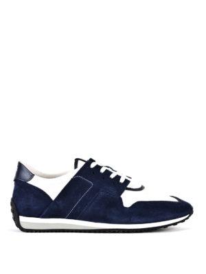 TOD'S: sneakers - Sneaker in suede blu e tessuto