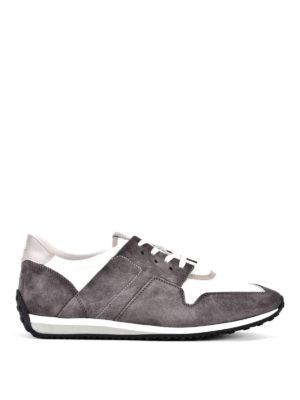 TOD'S: sneakers - Sneaker in suede grigio e tessuto