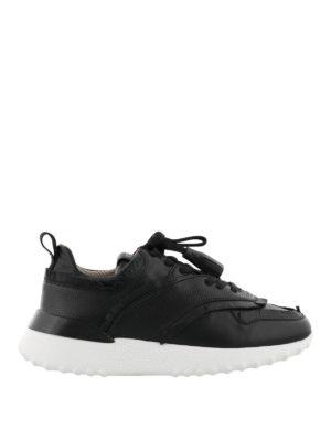TOD'S: sneakers - Sneaker nere con frangette