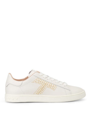 Tod'S: trainers - Golden stud logo leather sneakers