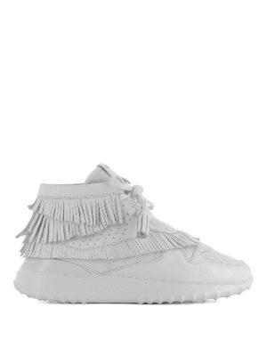 TOD'S: sneakers - Sneaker alte in pelle con frange