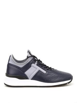 TOD'S: sneakers - Sneaker blu in pelle e neoprene