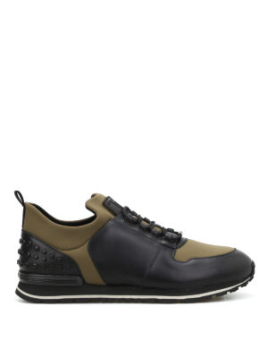Tod'S: trainers - Leather and scuba running sneakers