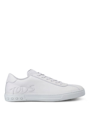 Tod'S: trainers - Leather logo patch sneakers