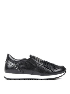 Tod'S: trainers - Leather slip-ons with small rings