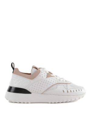 TOD'S: sneakers - Sneaker in pelle con inserti punzonati