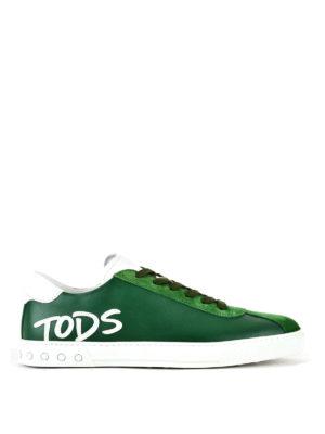 TOD'S: sneakers - Sneaker in pelle verde con logo