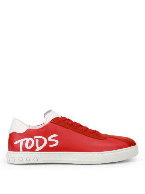 Tod'S: trainers - Logo Patch red leather sneakers