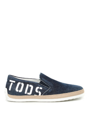 Tod'S: trainers - Logo print faded denim slip-ons