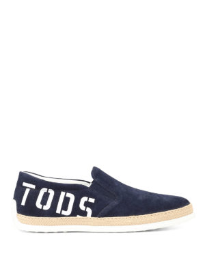 TOD'S: sneakers - Slip-on in suede con maxi logo