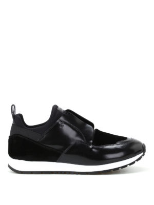 Tod'S: trainers - Multi fabric slip on black sneakers