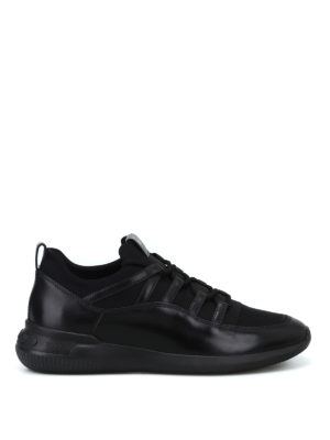 TOD'S: sneakers - Sneaker nere No-Code in pelle e tecnotessuto