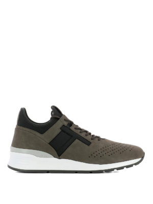 Tod'S: trainers - Nubuck and neoprene brown sneakers