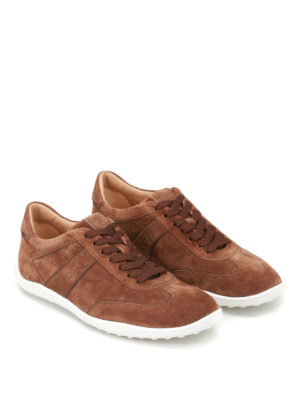 Tod'S: trainers online - Active 08A brown suede sneakers