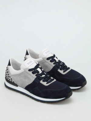Tod'S: trainers online - Bicolour suede and fabric sneakers