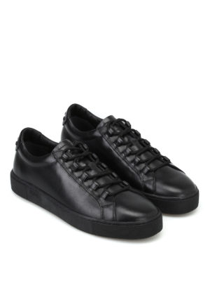 Tod'S: trainers online - Black leather sneakers with gommini