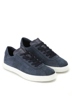Tod'S: trainers online - Blue nubuck low top sneakers