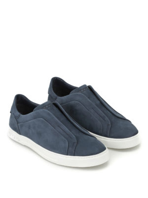 Tod'S: trainers online - Blue nubuck slip-ons