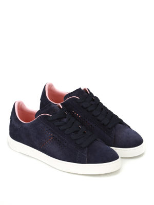 Tod'S: trainers online - Dark blue drilled suede sneakers