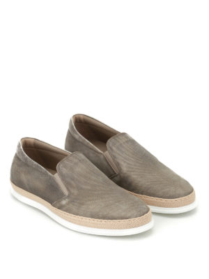 Tod'S: trainers online - Denim effect leather slip-ons