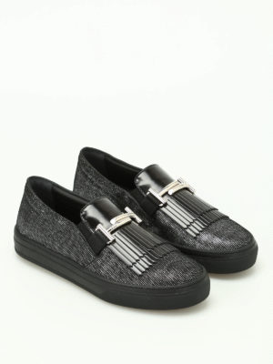 Tod'S: trainers online - Double T fringed leather sneakers