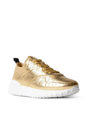 Tod'S: trainers online - Drilled gold leather sneakers