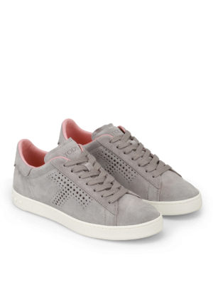 Tod'S: trainers online - Drilled T suede sneakers