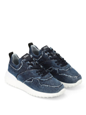 Tod'S: trainers online - Faded denim sneakers
