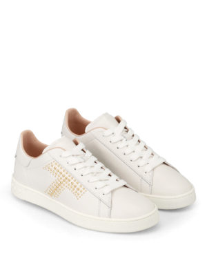 Tod'S: trainers online - Golden stud logo leather sneakers