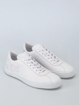 Tod'S: trainers online - Leather logo patch sneakers