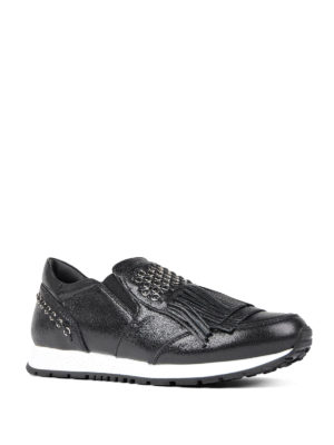 Tod'S: trainers online - Leather slip-ons with small rings