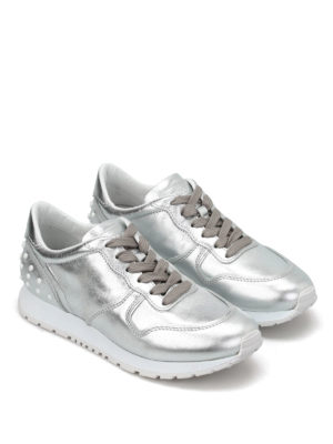 Tod'S: trainers online - Leather sneakers with pebbles