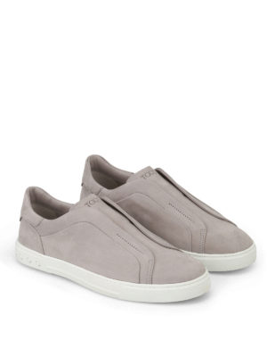 Tod'S: trainers online - Light grey nubuck slip-ons