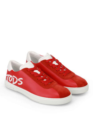 Tod'S: trainers online - Logo Patch red leather sneakers