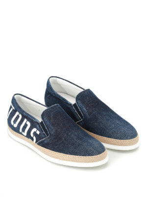 Tod'S: trainers online - Logo print faded denim slip-ons